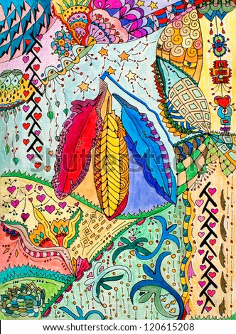original art, native American abstract design with three feathers, pencil and marker - stock photo