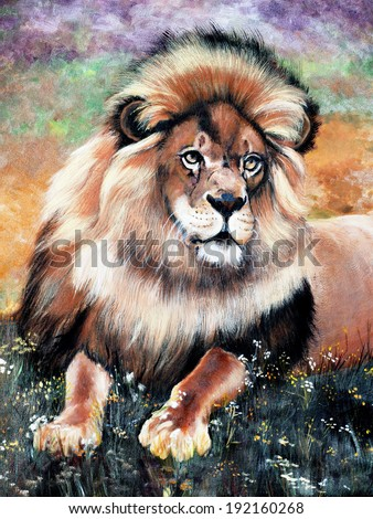 original art, oil painting of lion  - stock photo