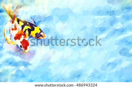 original art, painting of three swimming koi with space for text