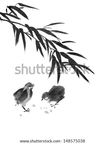 original art, watercolor painting of baby chicks walking under bamboo - stock photo
