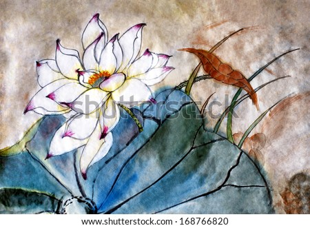 original art, watercolor painting of blooming lotus, Chinese style - stock photo