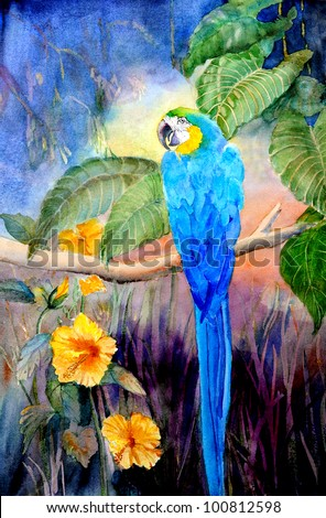 original art, watercolor painting of blue and gold parrot - stock photo