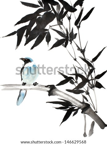 original art, watercolor painting of blue tropical bird perched on bamboo branch, looking left - stock photo