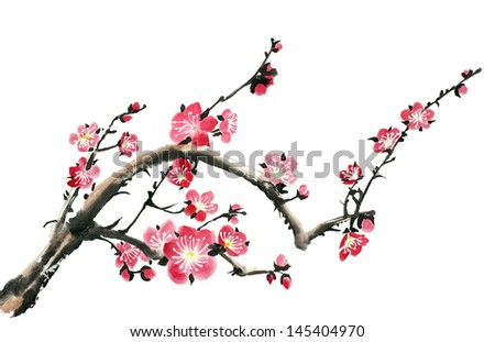 original art, watercolor painting of branch in bloom - stock photo