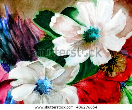 original art, watercolor painting of cosmos flowers in holiday colors