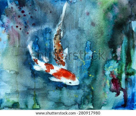 Original art, watercolor painting of koi - stock photo