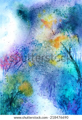 original art, watercolor painting of magic forest - stock photo