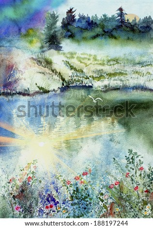 original art, watercolor painting of mountain, lake, trees, and sun - stock photo