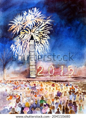 original art, watercolor painting of 2015 new year's celebration in Washington DC - stock photo