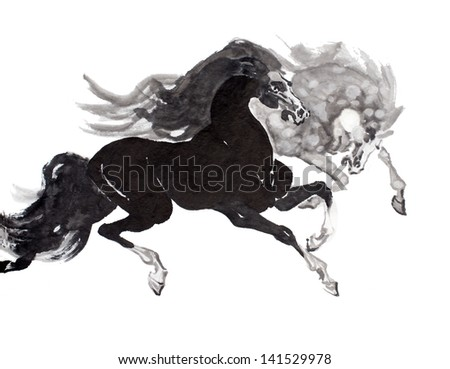 original art watercolor painting of oriental style horses in motion - stock photo