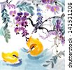 original art watercolor painting of oriental style yellow birds swimming under hanging flowers - stock photo
