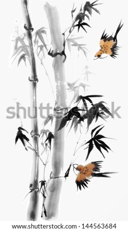original art, watercolor painting of pair of birds and bamboo, traditional Asian style - stock photo