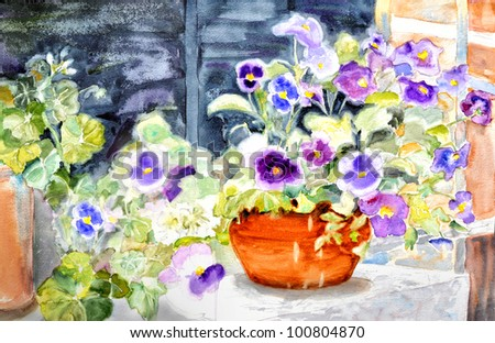 original art, watercolor painting of purple flowers in pot - stock photo