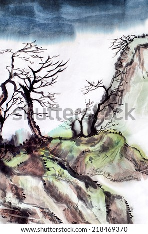 original art, watercolor painting of river in Asia with trees and sky - stock photo