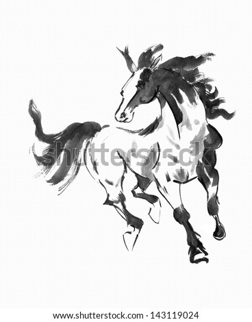 original art, watercolor painting of running horse, Asian style painting - stock photo
