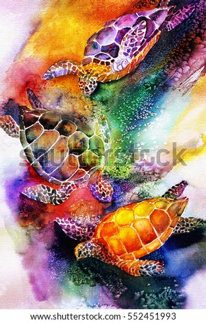 original art, watercolor painting of sea turtles in rainbow colors