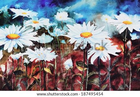 original art, watercolor painting of summer field of white daisies - stock photo
