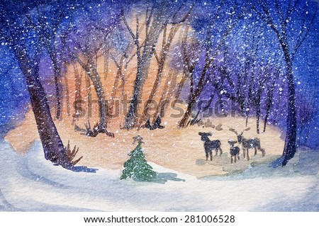 original art, watercolor painting of three deer in the woods for the holidays - stock photo