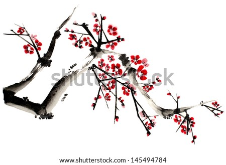 original art, watercolor painting of tree branch in full bloom - stock photo