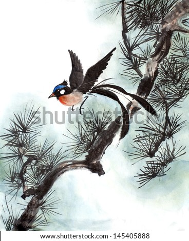 original art, watercolor painting of tropical bird in pine tree - stock photo