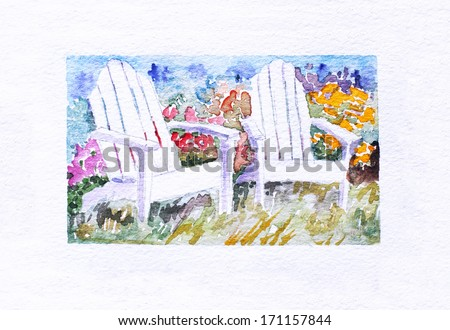 original art, watercolor painting of two white adirondack chairs in a garden - stock photo