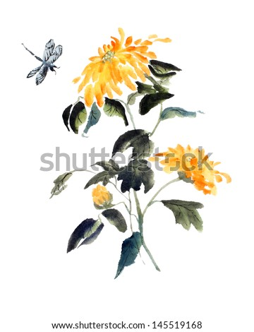 original art, watercolor painting of yellow fall flower with dragonfly - stock photo