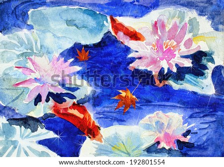 original art, watercolor painting on canvass of koi among water lilies - stock photo