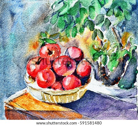original art, watercolor painting, still life, basket of apples
