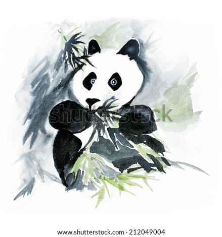 original art, watercolor sketch of panda eating bamboo - stock photo