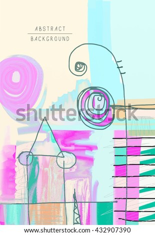 original artistic abstract creative universal design, you can use this artwork print in interior, page decoration, packing, poster, card, invitation, placard, brochure, flyer, book, raster version - stock photo