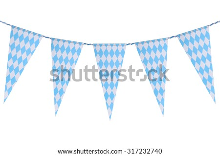 Original Bavarian bunting festoon from Germany with diamond pattern. Classic beer tent decoration. Isolated on white.