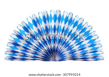 Original bavarian paperfan from Germany with diamond pattern. Classic beer tent decoration. Isolated on white. - stock photo
