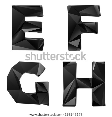 Original black glossy font by triangles, trendy lowpoly typeface - stock photo
