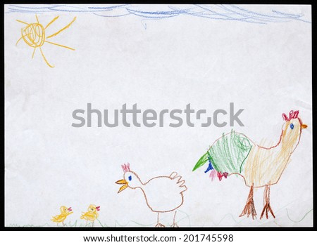 Original child's drawing of a cock and hen and two chickens drawing by a five-year-old girl.  - stock photo