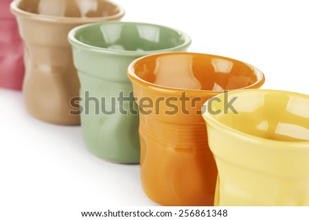 original colorful espresso cups, isolated on white - stock photo