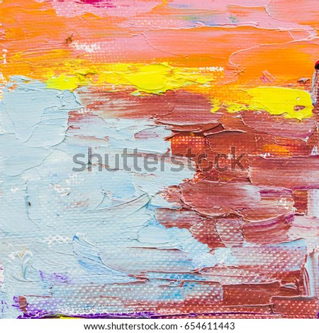 Original Colorful Hand Painted Oil Painting Stock Illustration
