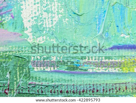 original colorful oil painting brush strokes texture background, green background