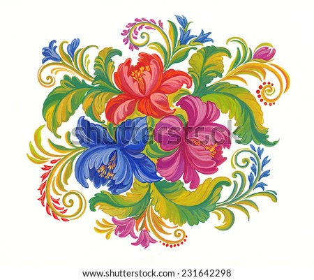 Original decorative painting, flowers on white background.