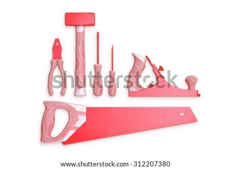 original designed hand tools set on white background - stock photo