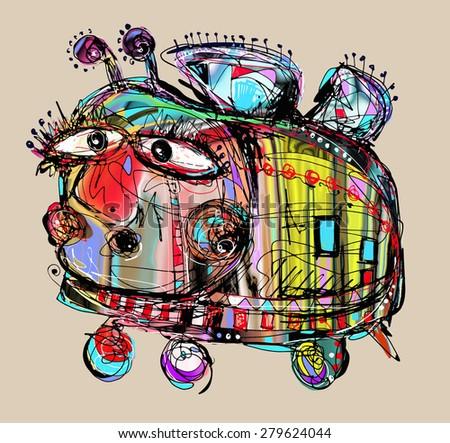 original digital painting of unusual melancholy and stupid crazy bee,  raster version illustration - stock photo