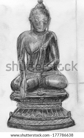 Original drawing , illustration of a Buddha statue on a lotus base. The drawing is in black and white and the Buddha's hand is touching the earth. - stock photo