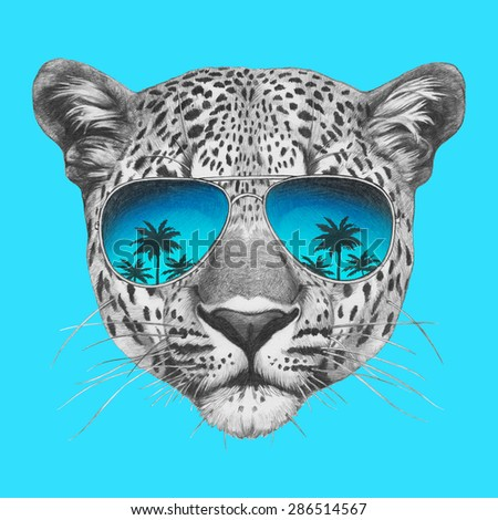 colored sunglasses u82y  Original drawing of leopard with mirror sunglasses Isolated on colored  background