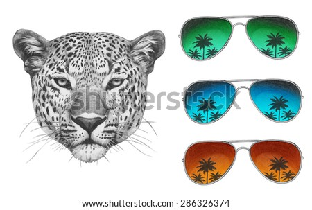 Original drawing of Leopard with mirror sunglasses. Isolated on white background - stock photo