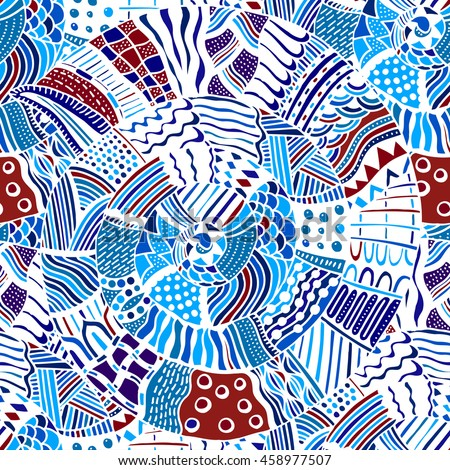 Original drawing tribal doddle spiral. Seamless pattern with geometric elements.