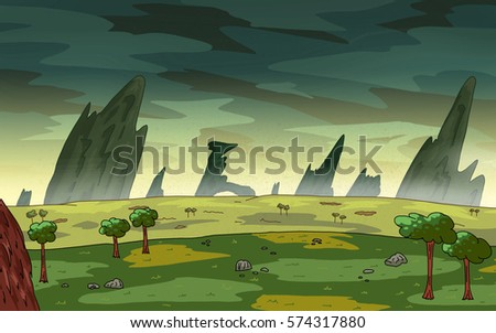 Original Exotic fantasy Alien Planet.  Environment landscape scene. Video Game, Digital CG Artwork, Concept Illustration. US Animated Cartoon Style Background