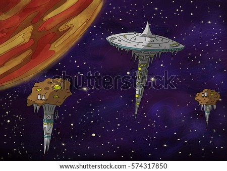 Original Exotic fantasy space stations and orange planet.  Space scene environment. Video Game, Digital CG Artwork, Concept Illustration. US Animated Cartoon Style Background