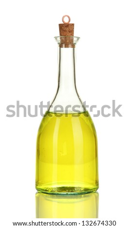 Original glass bottle with oil isolated on white
