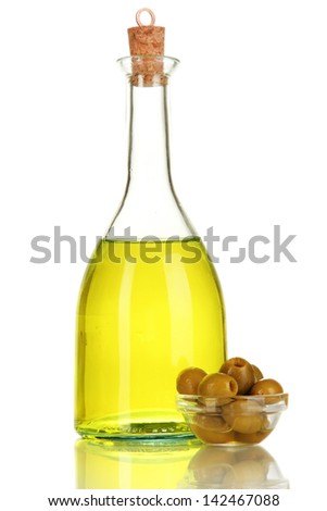 Original glass bottle with oil isolated on white - stock photo