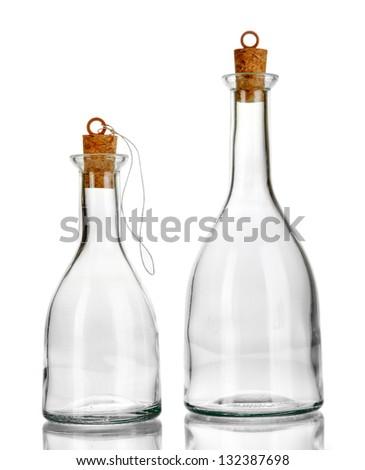 Original glass bottles isolated on white - stock photo