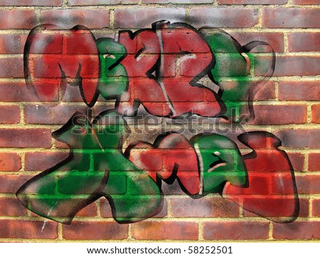 original graffiti illustration of Merry Xmas layered with a photograph of a brick wall